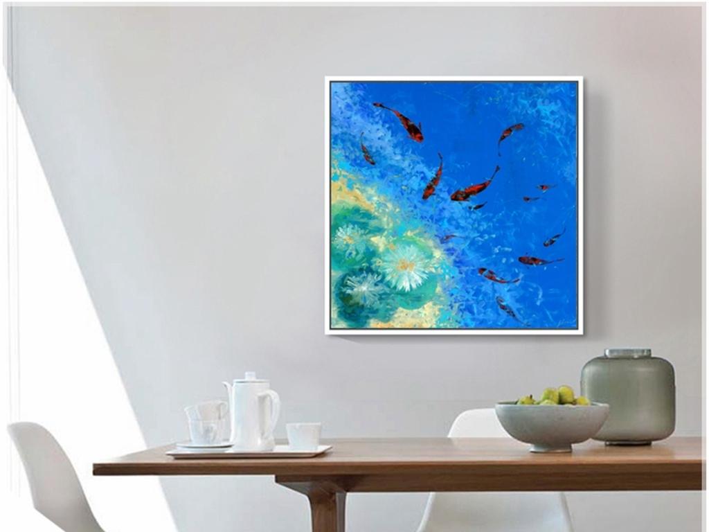 手绘蓝色精美现代简约家居酒店北景墙装饰画