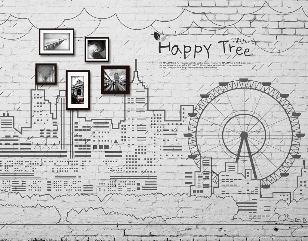 城市剪影手绘建筑摩天轮线条砖墙背景