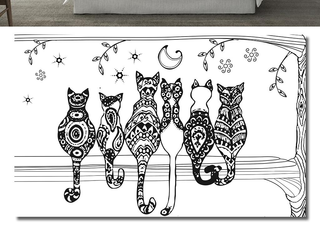 可爱黑白猫咪现代简约背景墙