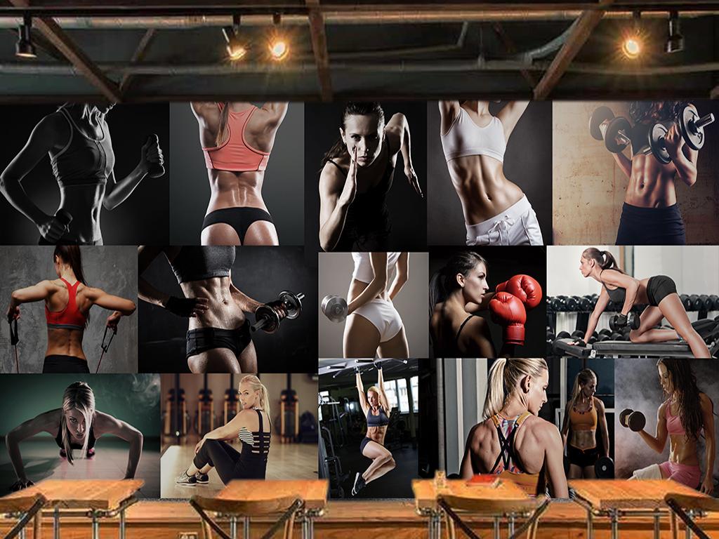 壁画欧美复古手绘怀旧欧式酒吧ktv咖啡网吧性感女郎美女健身