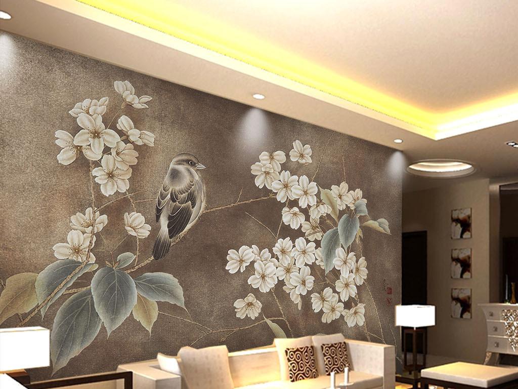 手绘工笔花鸟新中式背景墙古典壁纸装饰画