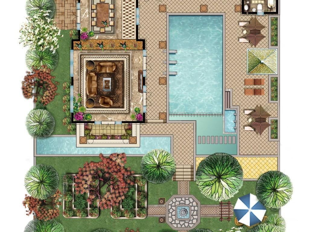 高清别墅彩色平面图花园