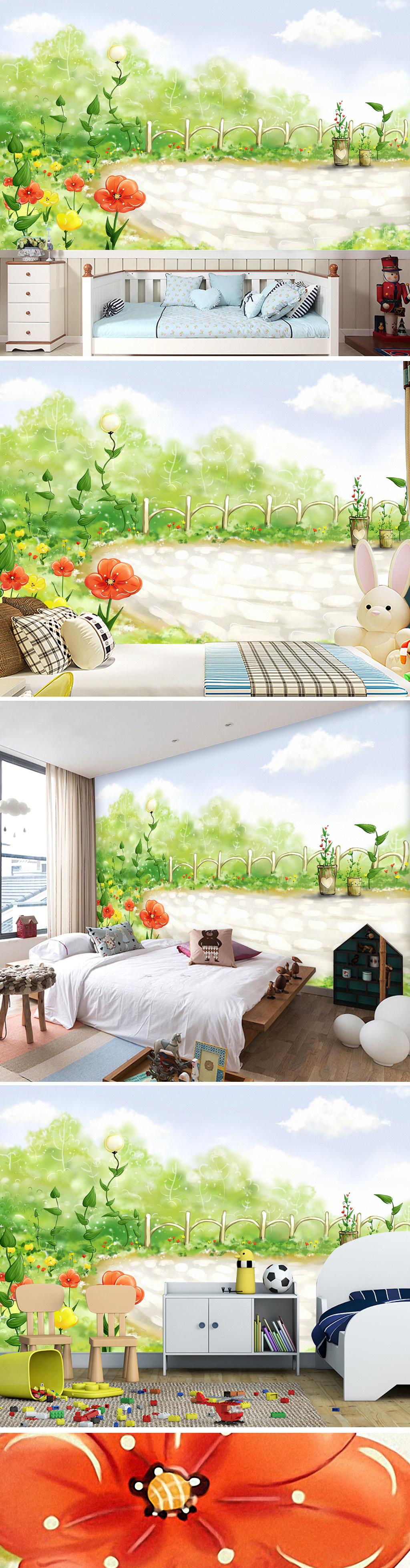 绿色卡通手绘唯美花园花卉花丛清新客厅壁画