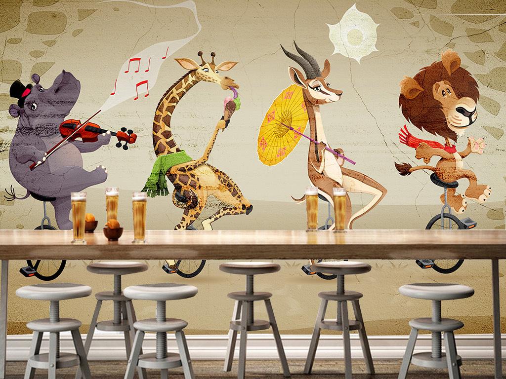 手绘卡通动物单车大型壁画