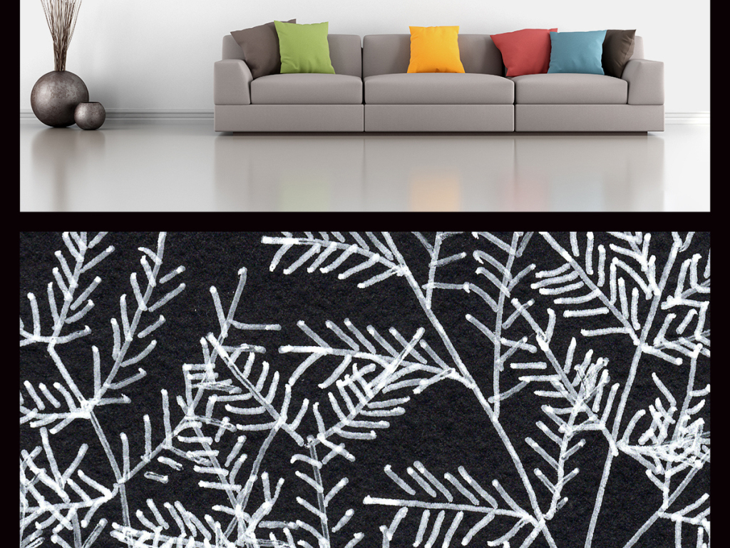 手绘粉笔植物枝叶插画背景墙