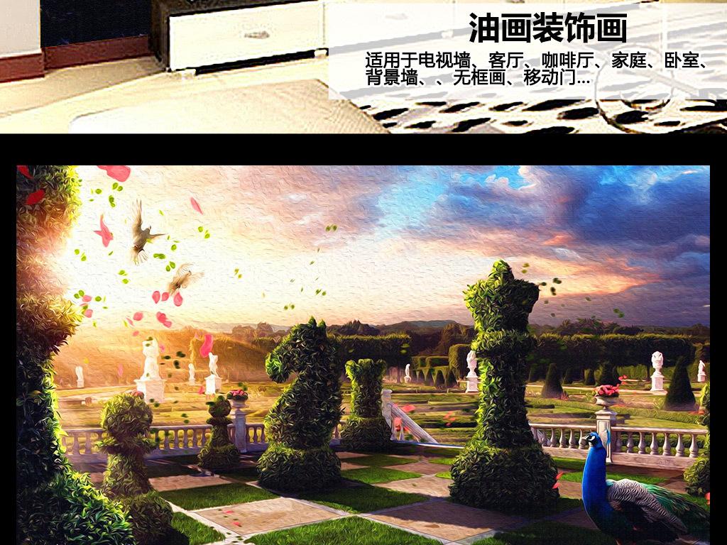 外国象棋油画电视背景墙高清图片下载(图片编号)风景