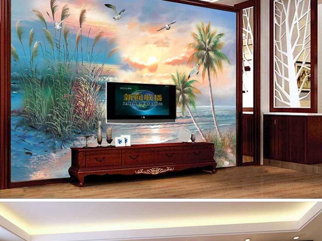 油画风景电视背景墙
