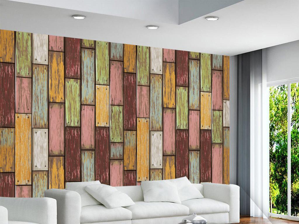 现代简约抽象木条木纹背景墙图片
