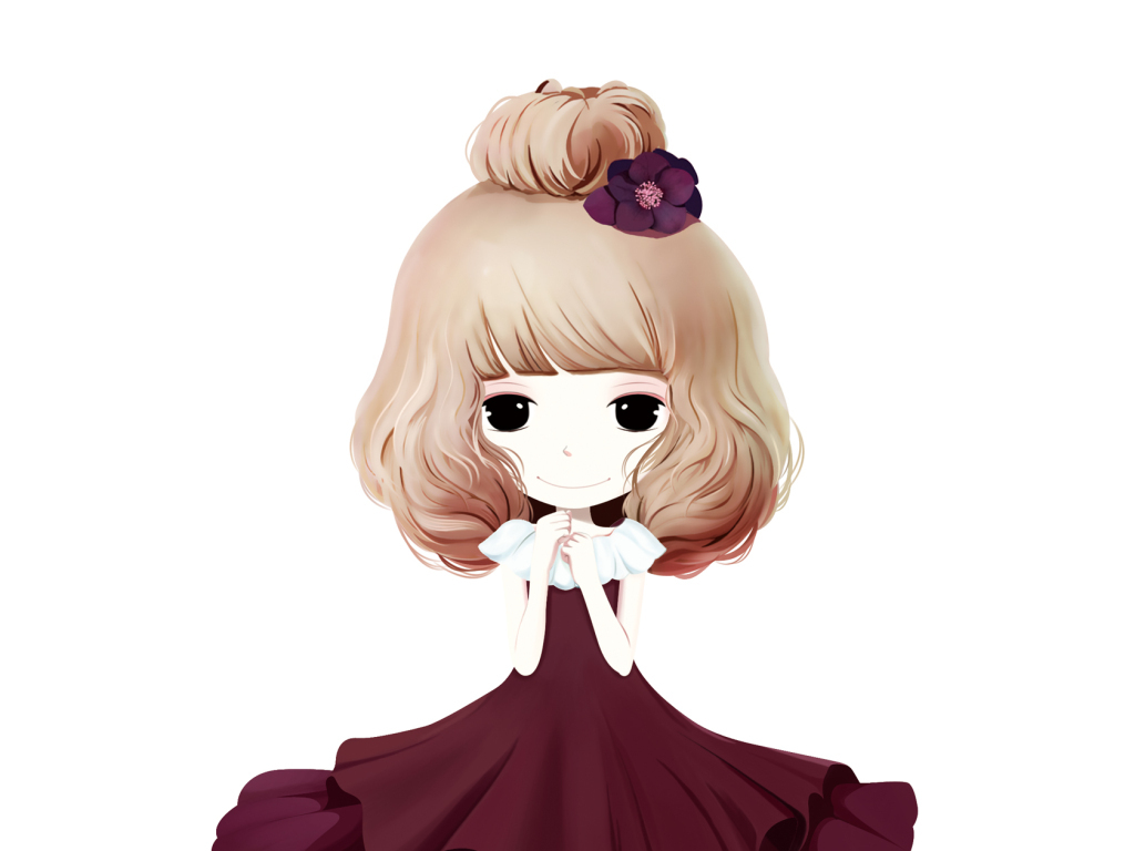 手绘女孩韩国插画金色衣服手机壳图案衣服图案印花