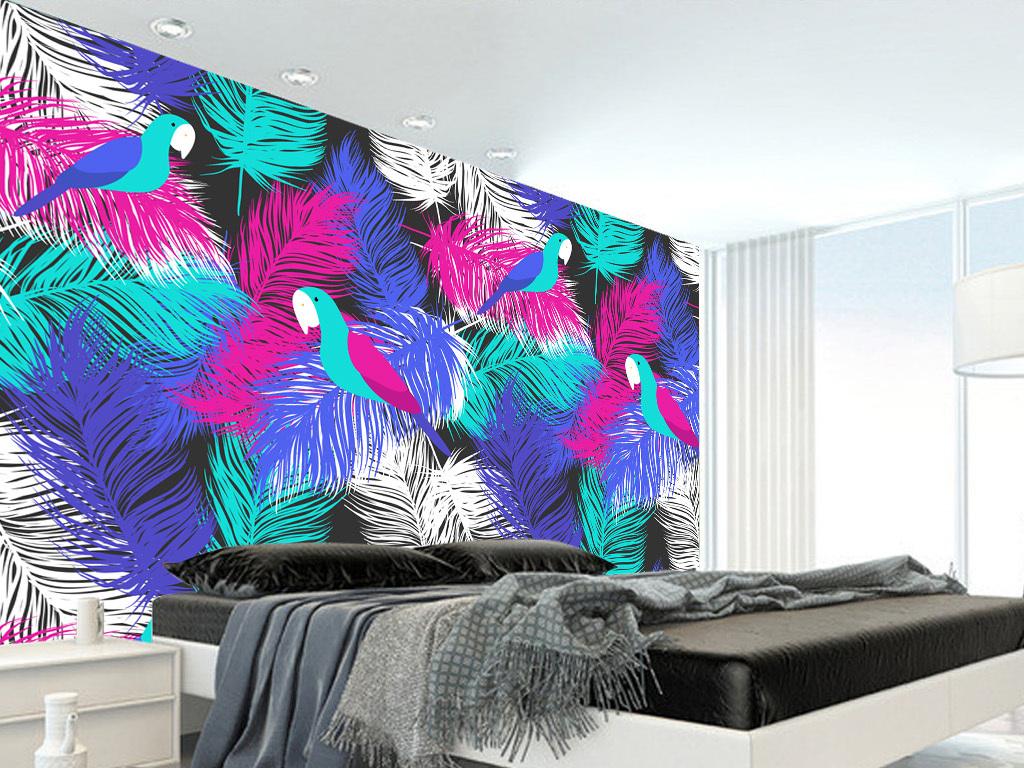 手绘彩色羽毛鹦鹉电视背景墙壁纸