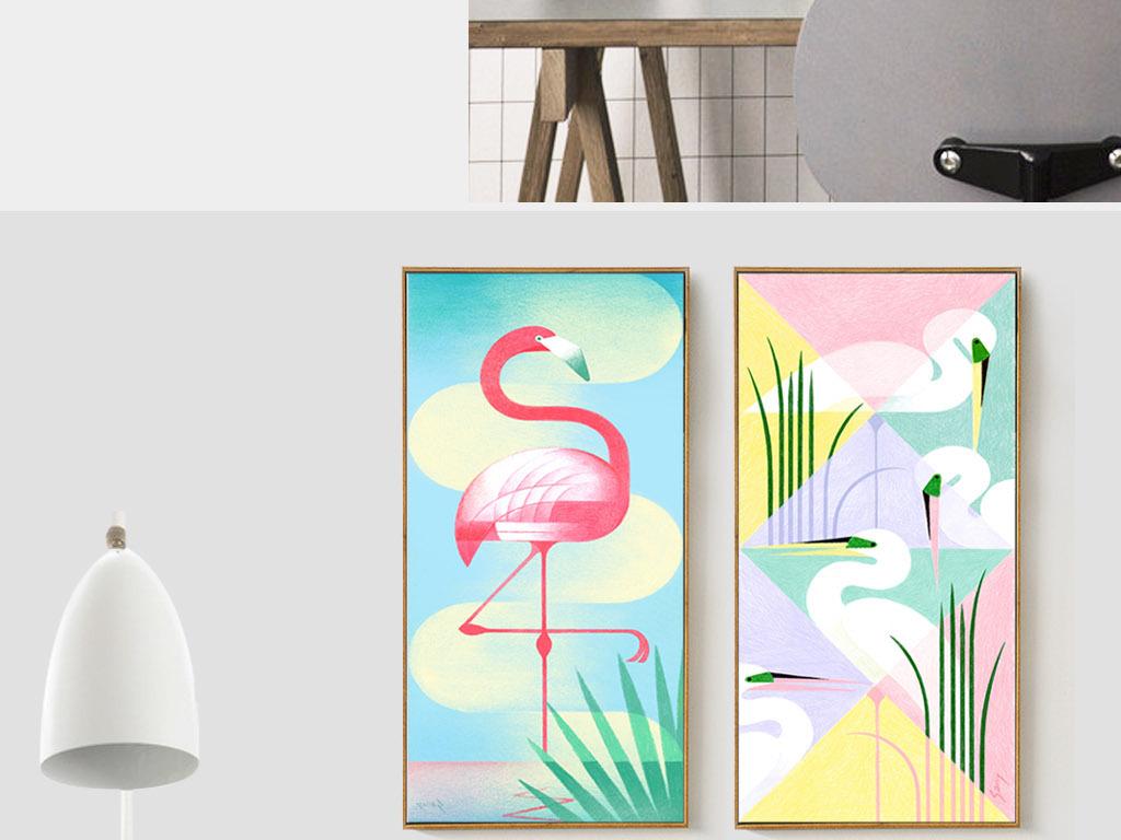 极简黑白装饰画抽象画抽象装饰滑稽动物无框画无框画抽象抽象图案无框