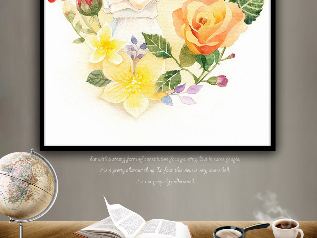 手绘美女和梅花鹿欧式唯美现代客厅装饰挂画