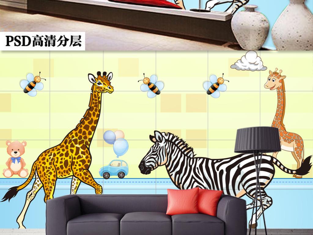 卡通手绘长颈鹿树林简约背景墙装饰画
