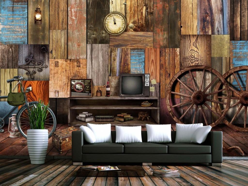 复古木板车轮酒吧ktv背景墙壁纸壁画