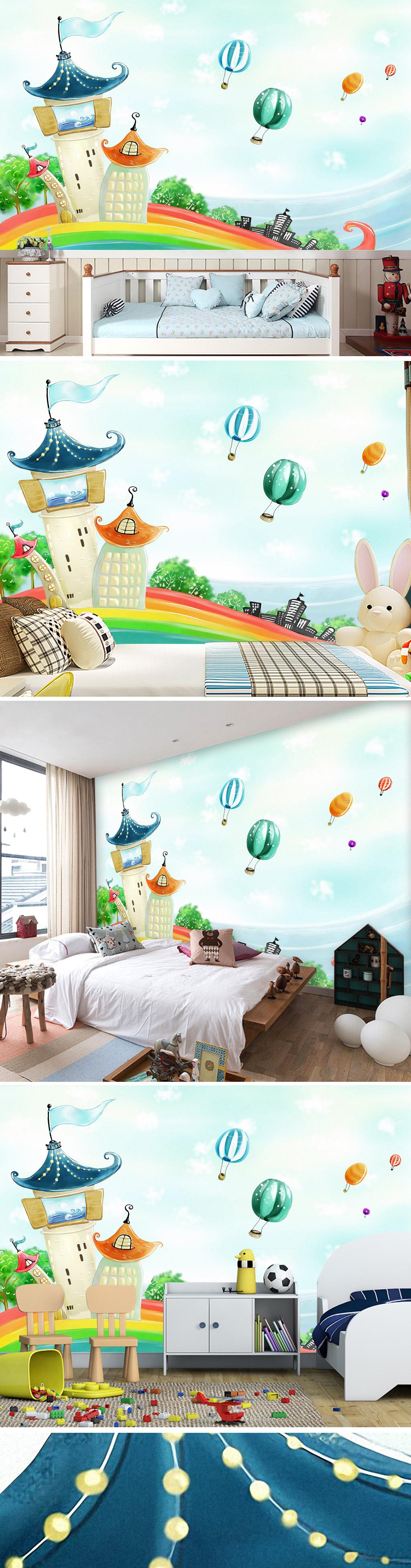 热气球城堡浪漫色彩手绘卡通韩国客厅背景墙