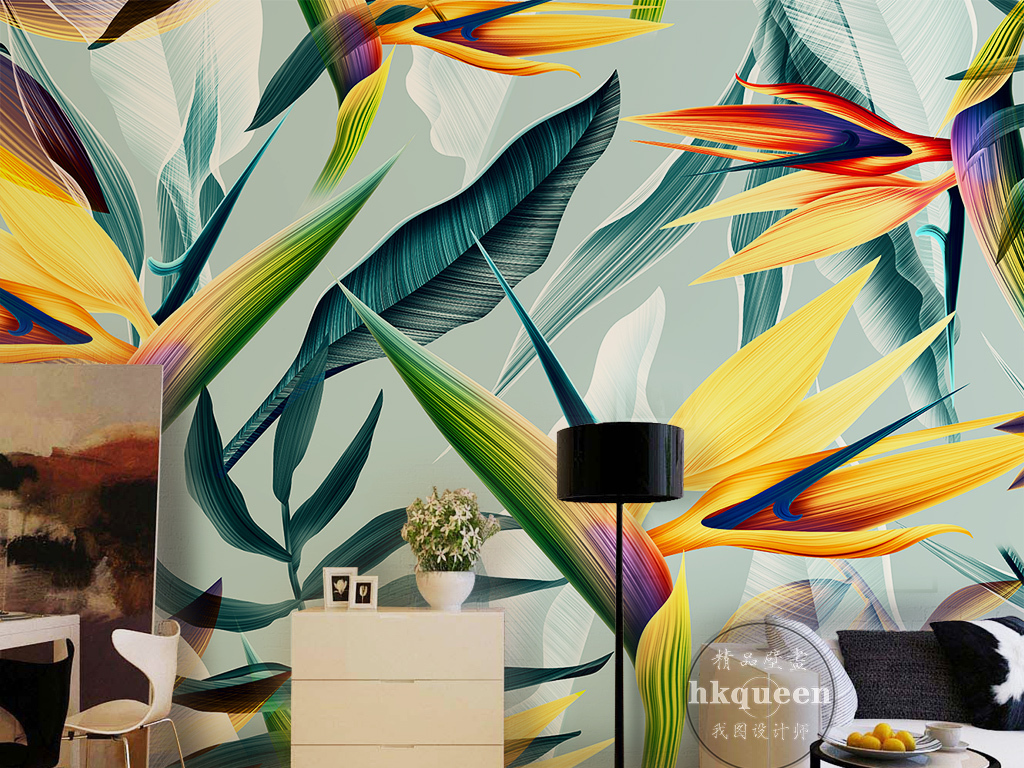 电视墙手绘                                  热带雨林