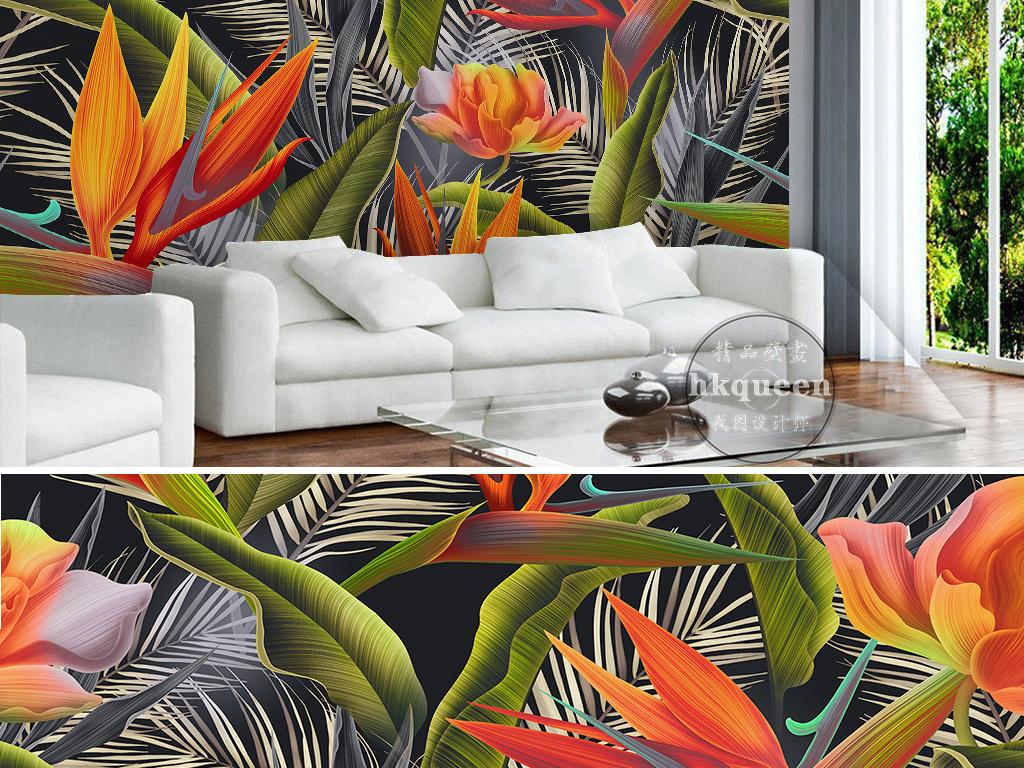 手绘热带雨林剑兰芭蕉扇美人蕉复古时尚背景