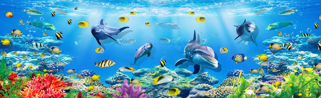 整屋定制宽幅海底世界儿童房背景墙壁画