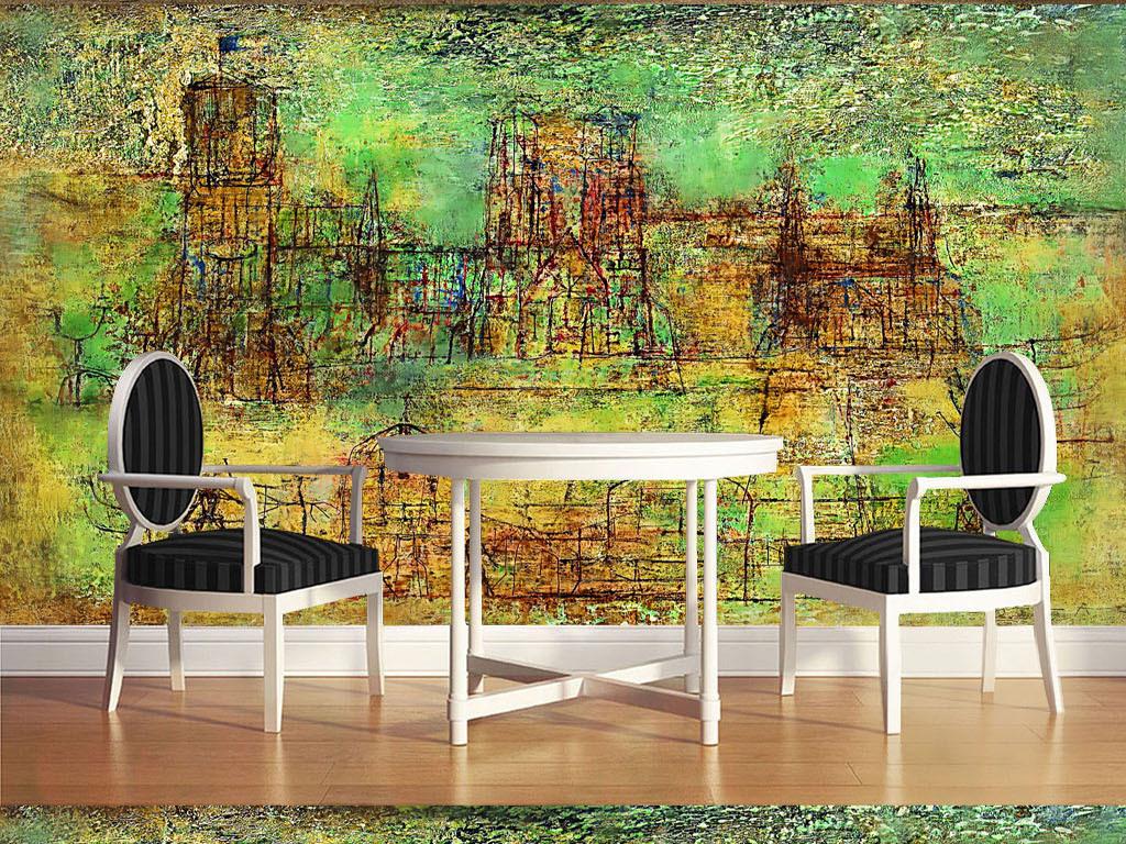 时尚现代酒吧抽象手绘油画装饰画背景墙5效果图 15168560 油画 立体