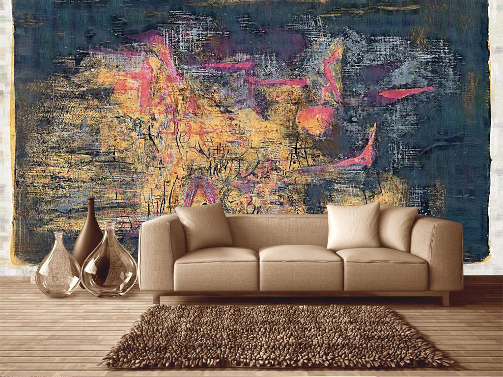 时尚简约抽象手绘工装油画电视背景墙壁画8