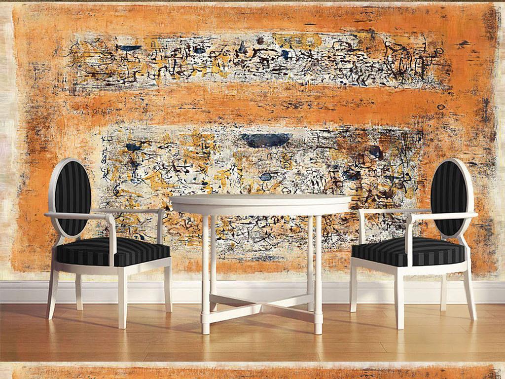 时尚现代酒吧抽象手绘油画装饰画背景墙6效果图 15168576 油画 立体