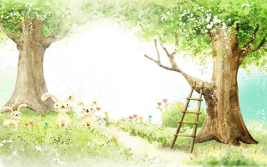 儿童房壁纸高清手绘森林装饰画