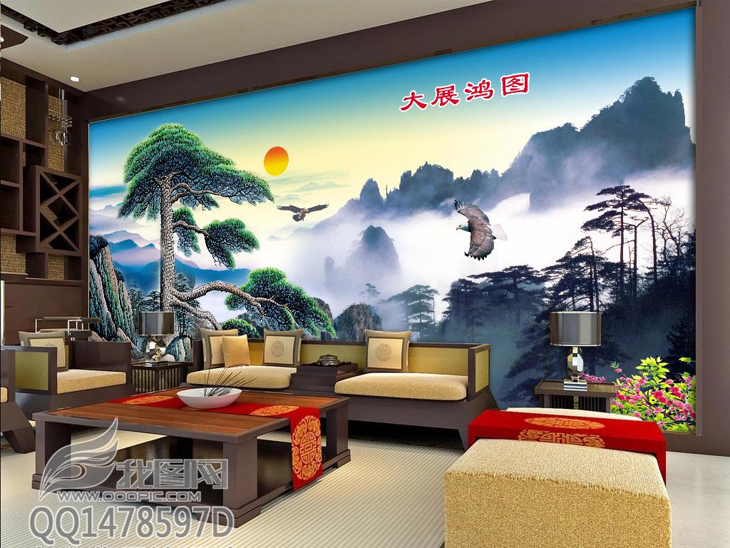 大展鸿图迎客松老鹰长城电视背景墙效果图 15168744 中式电视背景墙