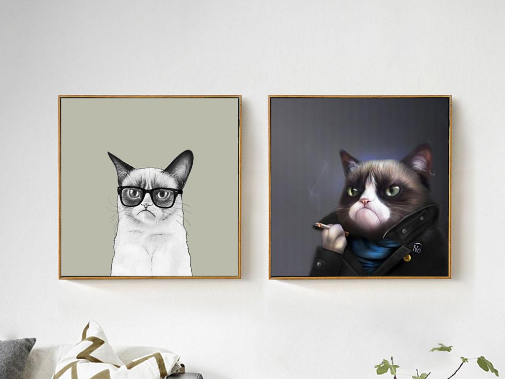 极简儿童房装饰画餐厅挂画卧室画滑稽动物抽象创意无框画抽象抽象图案