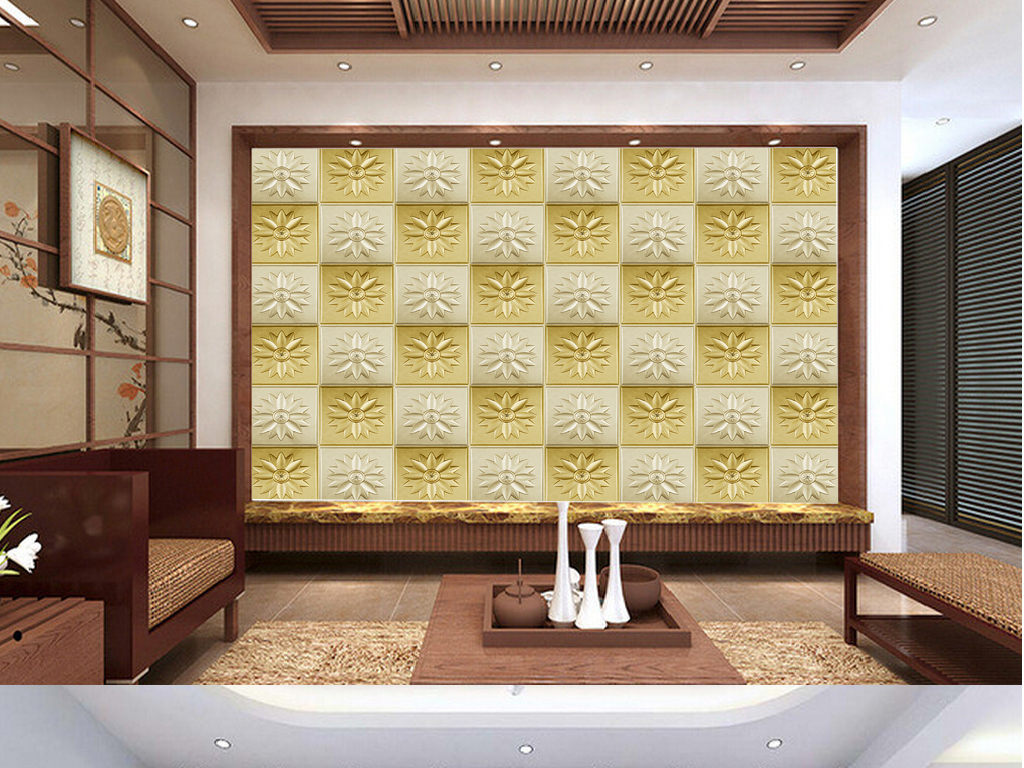 高清欧式皮雕电视背景墙