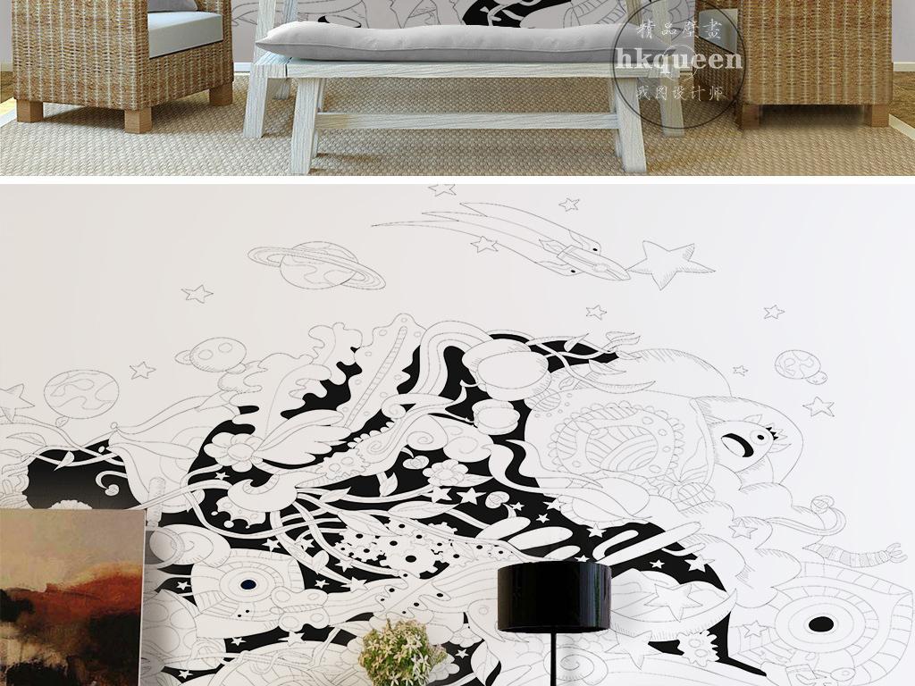 现代简约黑白抽象卡通小黄人手绘儿童房背景效果图 15171525 儿童房