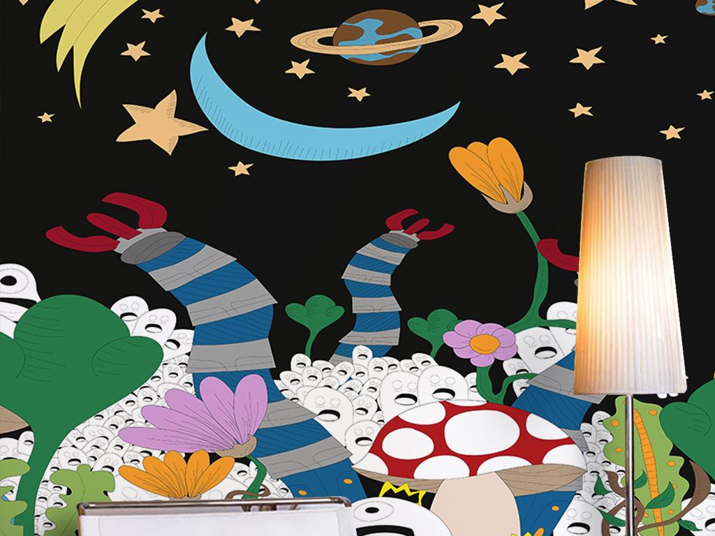 手绘卡通简约星光夜晚外星人宇宙儿童房背景
