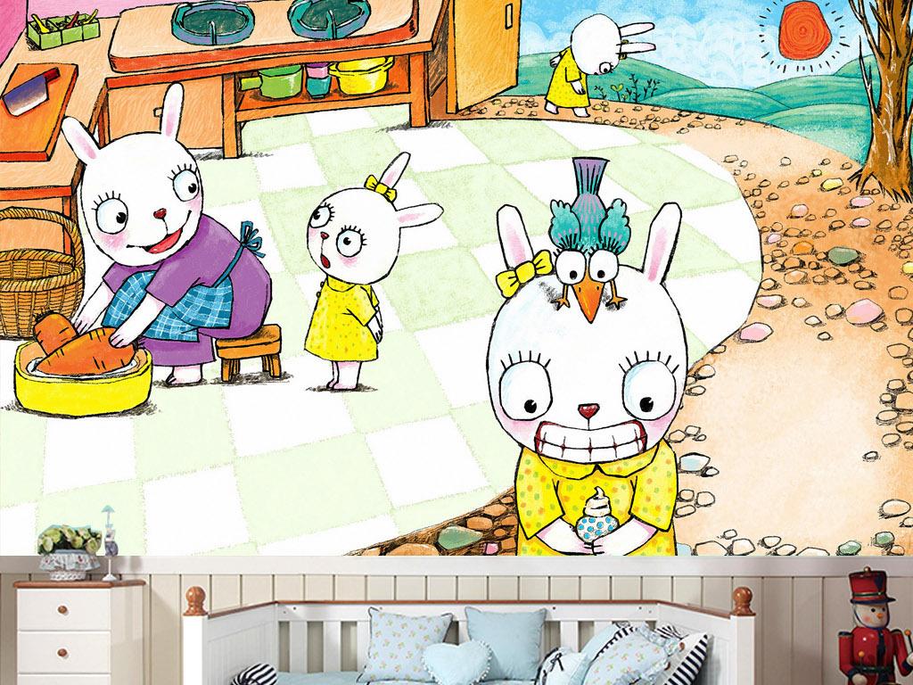 可爱小白兔故事童话手绘温馨怀旧客厅背景墙