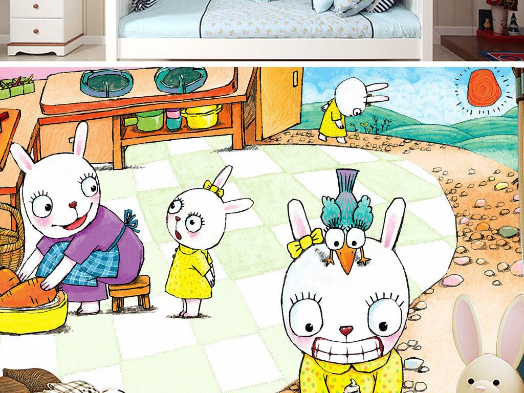 背景墙|装饰画 电视背景墙 手绘电视背景墙 > 可爱小白兔故事童话手绘