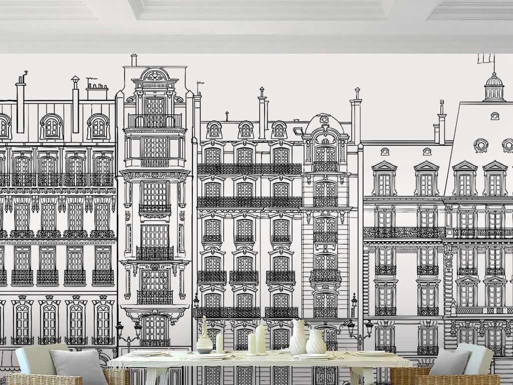 现代简约黑白手绘建筑道路背景墙