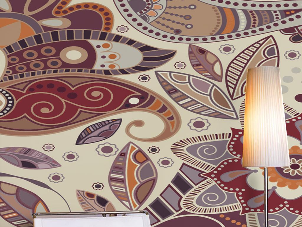 东南亚风格抽象手绘图案花纹民族特色背景墙
