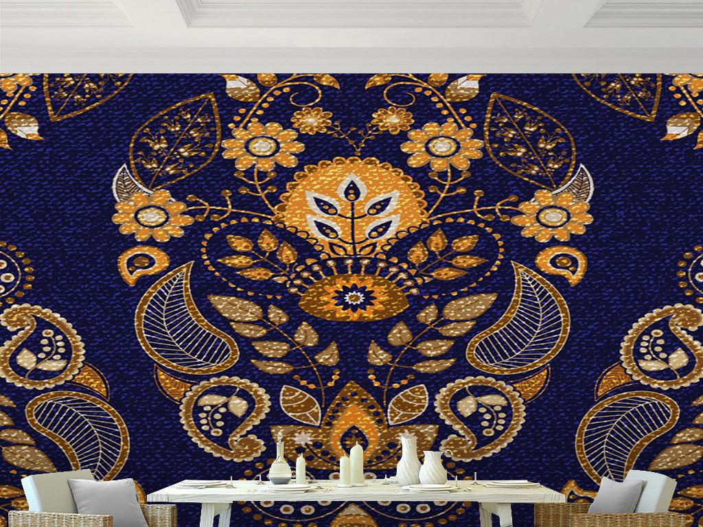 东南亚风格民族特色抽象图案花纹手绘背景墙