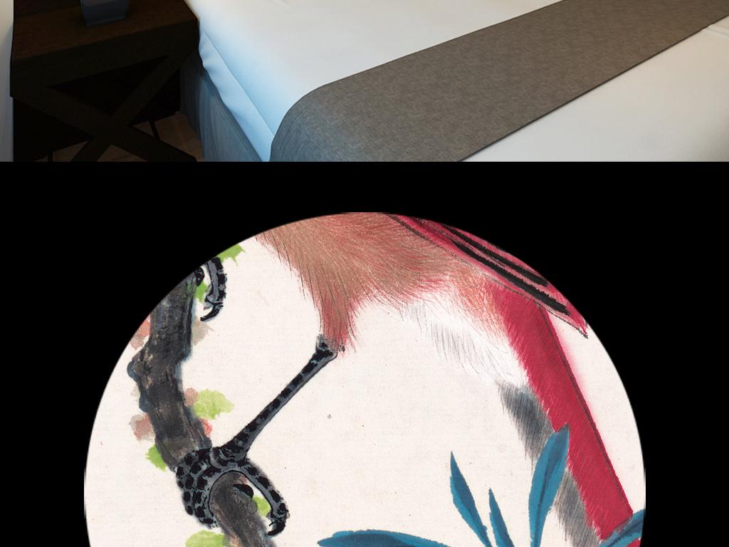 高清手绘水墨国画中国风石榴花画眉鸟背景墙