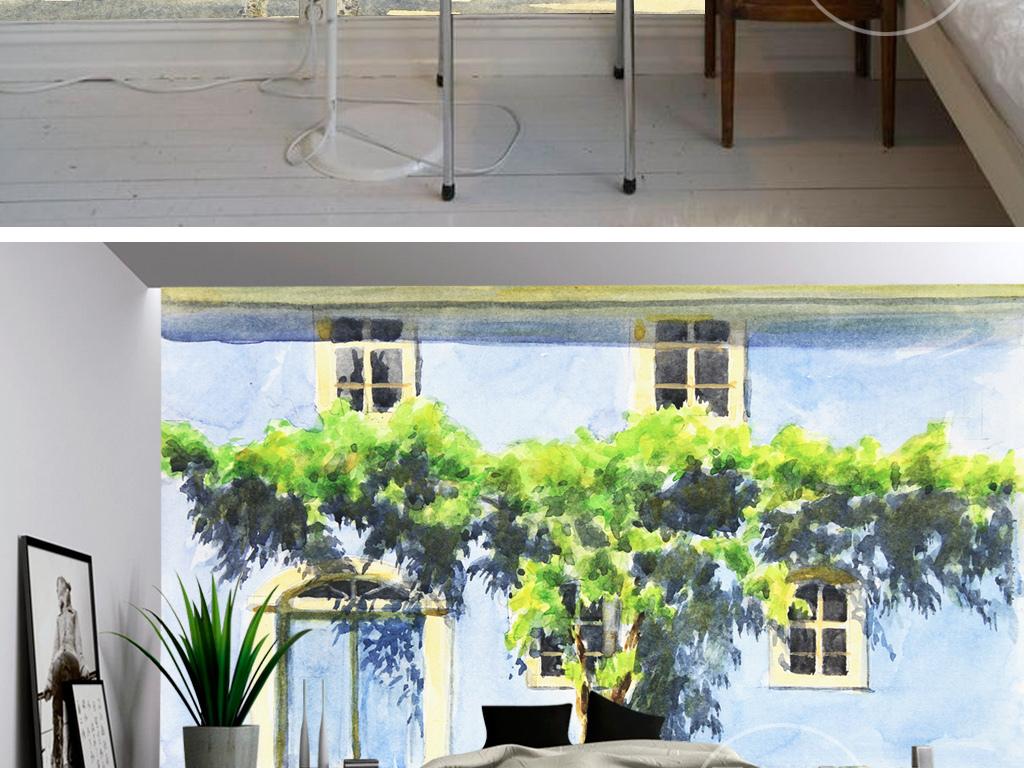 手绘水粉画油画绿色植物藤蔓蓝房子壁画背景