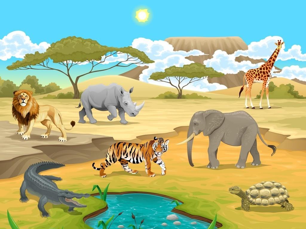 儿童房幼儿园卡通动物装饰画墙纸壁纸大象猴子长颈鹿狮子客厅电视背景