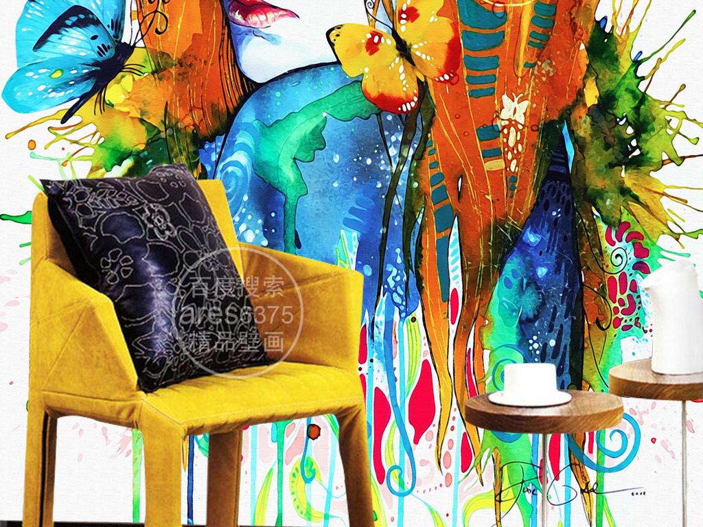 手绘多彩人物头像水彩蝴蝶复古怀旧个性壁画