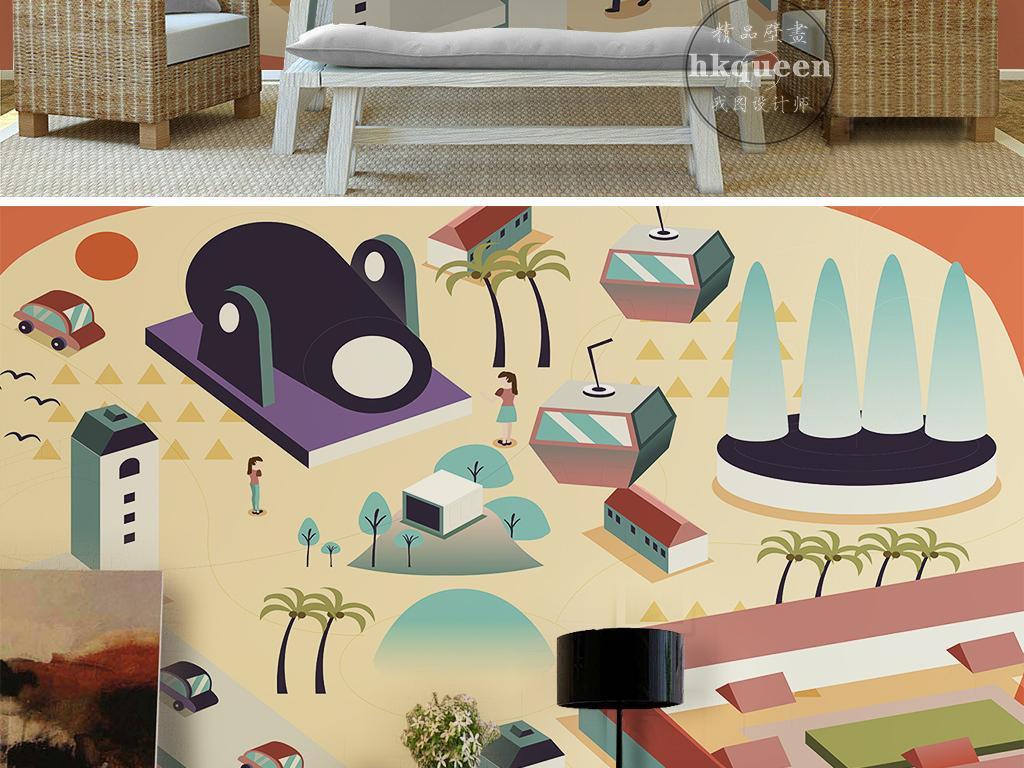 手绘现代建筑设施游乐场公园卡通简约背景墙