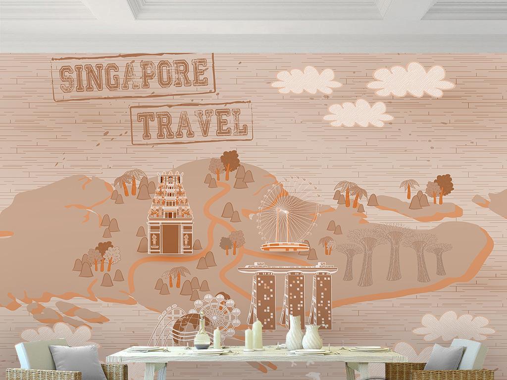 背景墙|装饰画 电视背景墙 手绘电视背景墙 > 复古时尚新加坡旅游路