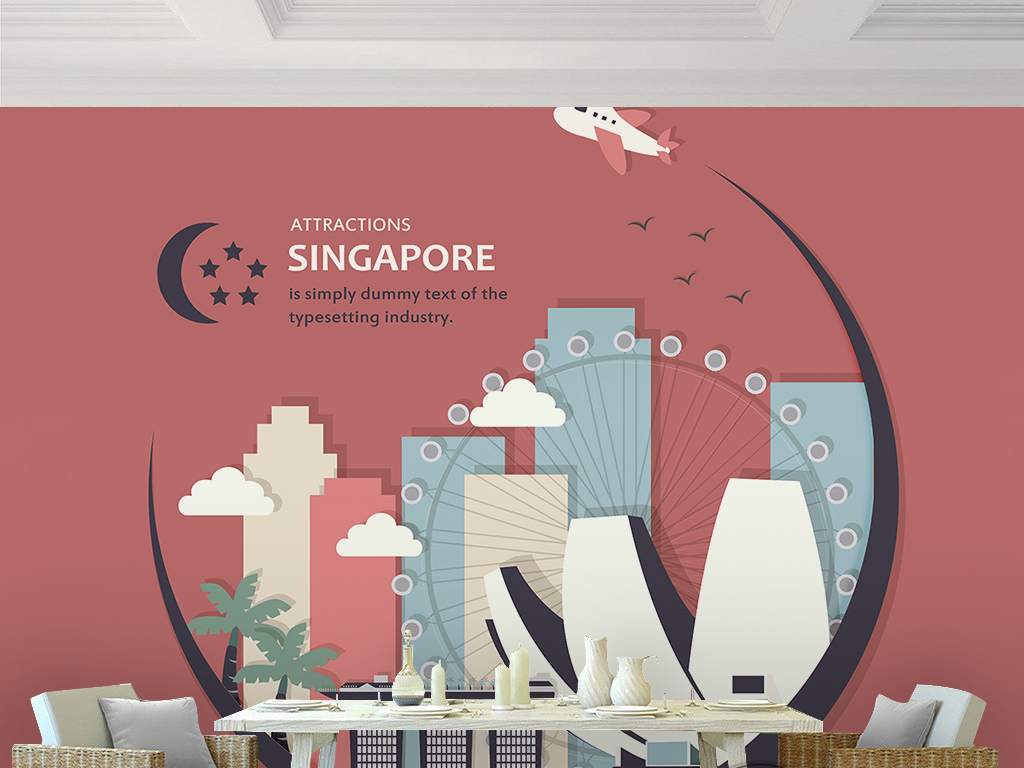 电视背景墙 手绘电视背景墙 > 现代简约卡通建筑摩天轮飞机新加坡旅游