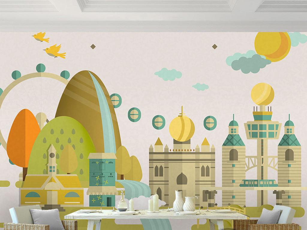 设计作品简介: 手绘卡通幼儿园建筑城堡小树飞鸟儿童房背景 位图, rgb