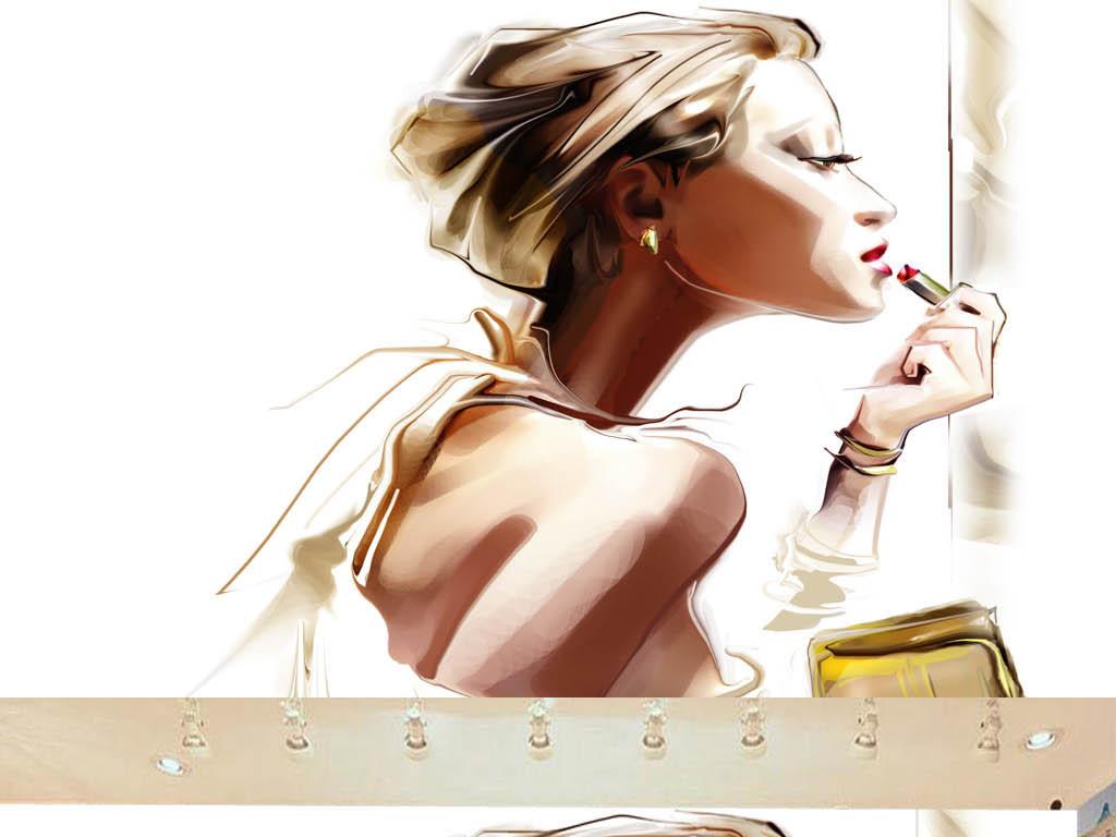 手绘美女化妆品店形象墙3d电视背景墙艺术玻璃电视背景墙中式背景墙欧