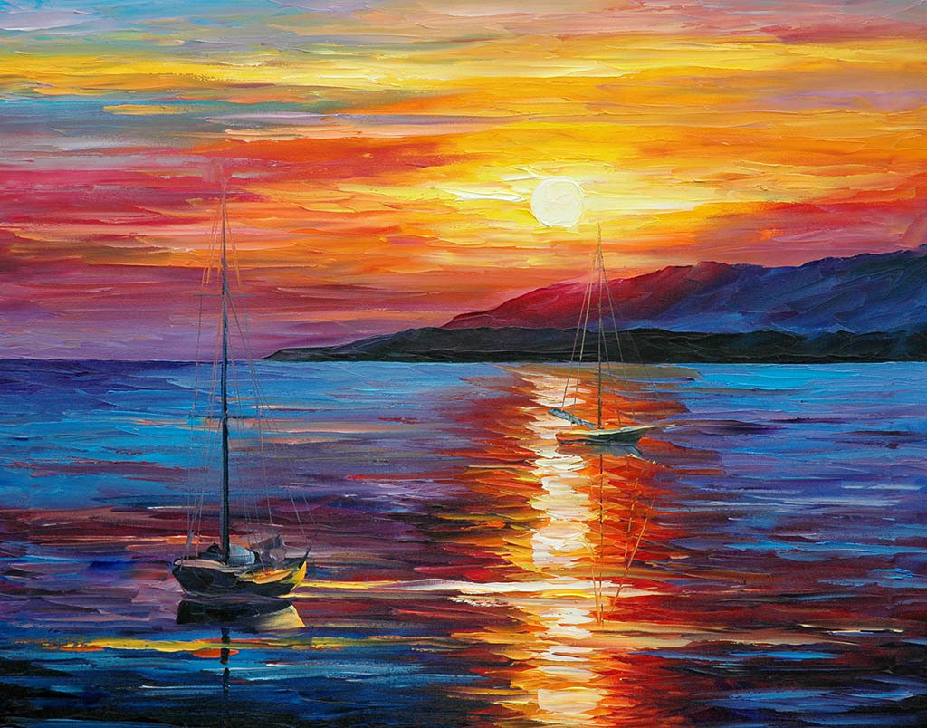 油画大海风景有框无框装饰画