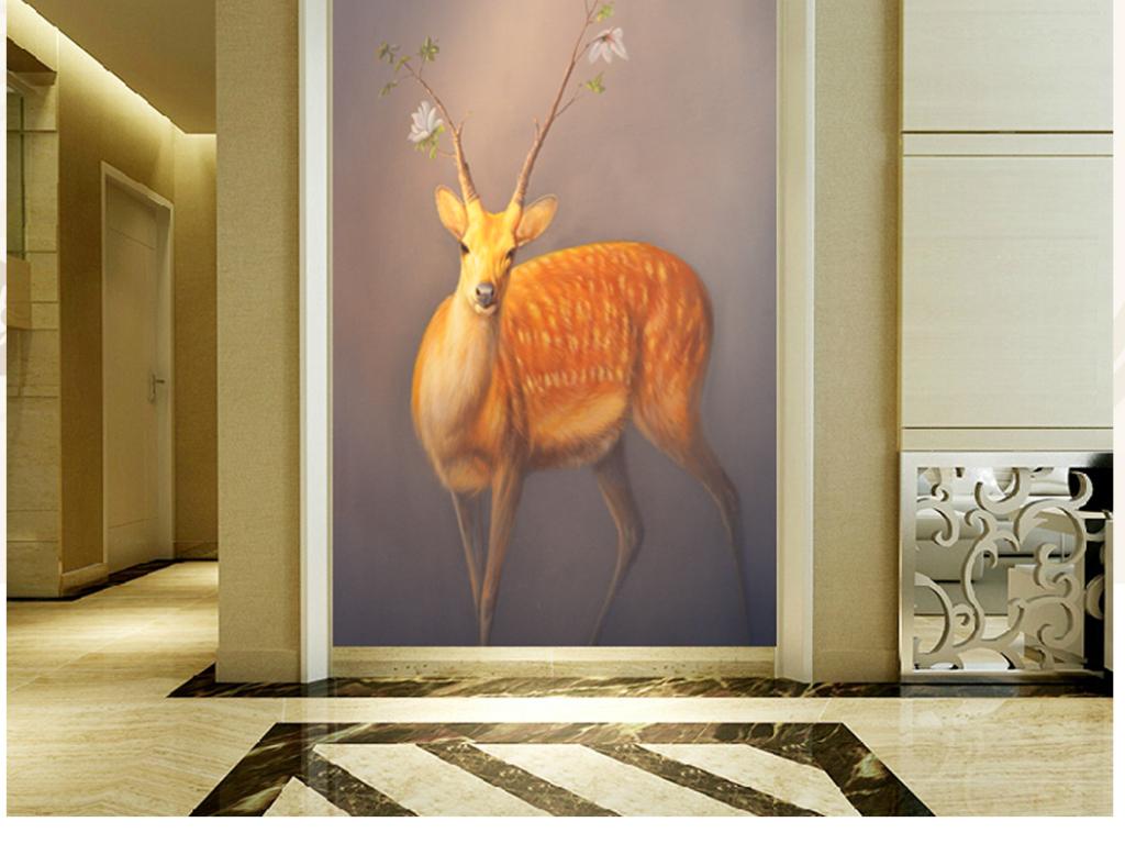 纯手绘油画奇幻鹿艺术玄关