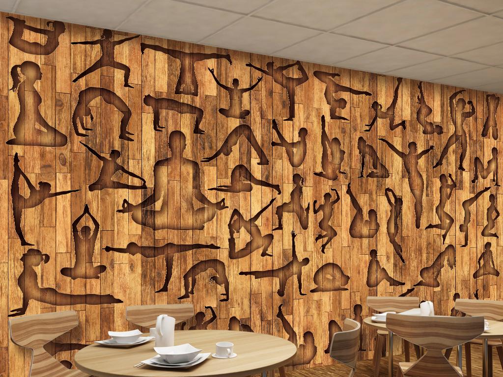 健身运动瑜伽休闲会所木板木纹工装背景墙
