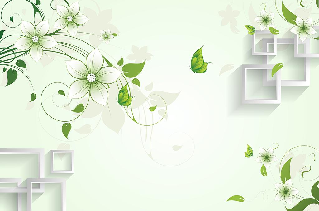手绘花蝴蝶绿色蝴蝶方框立体墙psd高清分层清新花朵时尚花简约花卉3d