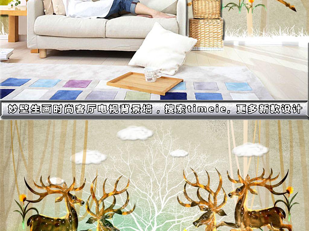木板浪漫古典抽象欧式复古美式欧美风情乡村麋鹿鹿头水彩画手绘梅花鹿